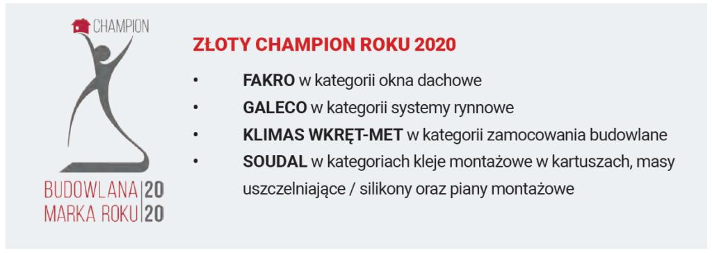 złoty champion roku 2020